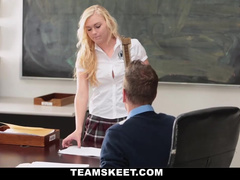 Blonde uses her pussy to get a high grade from teacher