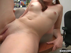 Chick with awesome little boobies got fucked in the office