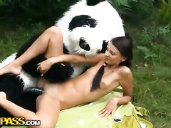 Teen artist chick fucked up by panda bear in the park