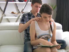 Massage turbed on bruntte's sexual excitement