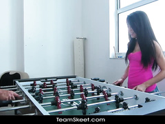 Sweetie lost her pussy in foosball game to her fucker