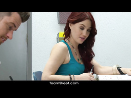 Redhead babe sucks teacher's dick and fucks hot with him