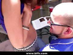 Bald guy is getting fucked up by two exciting bitches
