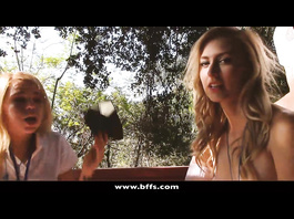 Lesbian girlfriends are hotly fucking with dildo outdoors