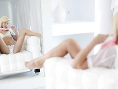 Tight and amazingly sexy blonde is enjoying hot masturbation