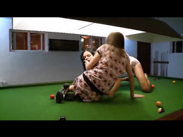 Steaming hot lesbians are making out on pool table