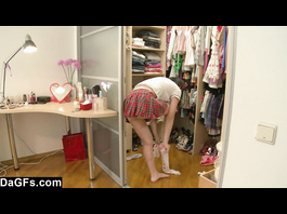 Asian teen changed her clothes and now masturbating