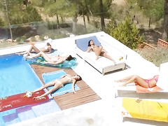 Sexy hot girls are having exciting fun by the pool