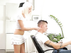 Blonde seduces her fucker while he is working on computer