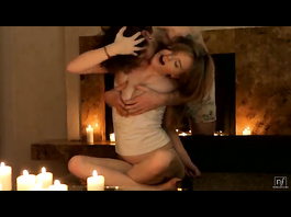 Handsome guy and horny blonde are enjoying romantic fuck