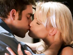 Exciting blonde in hot lingerie got pleased with awesome fuck