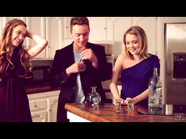 Handsome guy got drunken with two lesbian beauty babes