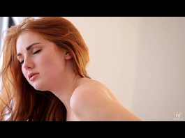 Teen redhead chick passionately masturbates pussy