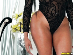 Impressive hot and juicy Asian chick Moriah Mills is hotly posing in black lace bodysuit