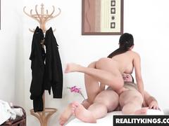 Slender young brunette Leyluken Pussykat massages nude guy and fucks him