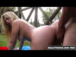 Delightful blonde girl in hot red bodysuit Diana Lins is having hardcore fuck outdoors