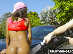 Impressive sexy black girl Raven Wylde enjoys interracial fuck after car wash