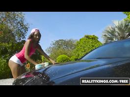 Impressive sexy black girl Raven Wylde enjoys interracial fuck after car wash