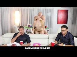 Exciting skinny shaped blonde babe fucks father's friend in kitchen
