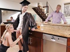 Wonderful blonde milf with hot boobs reward her stepson with hardcore fuck