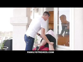 Brunette milf got stock in window and enjoyed getting fucked by two stepsons