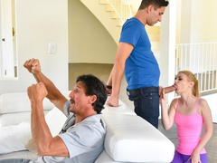Dad is watching TV while daughter is fucking with stepson behind his back