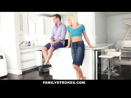 Attractive young blonde babe covets to her stepbrother  and sucks his dick