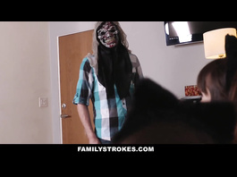 Young guy wears a mask to scare the girls and gets pleased with blowjob