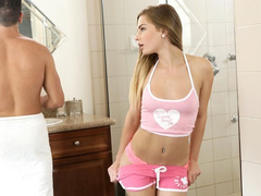 Attracting blonde seduces her stepbrother to fuck hard in the bathroom
