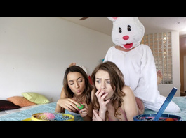 Slutty bisexual teen chicks are fucking hard an Easter bunny