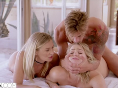Horny hot blondes Mia Malkova and Natalia Starr are having threesome fuck