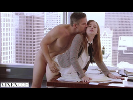 Awesome ginger girl enjoys hardcore fuck with her boss in the office