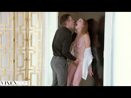 Slutty young chick invites her boss to her place and fucks him passionately hard