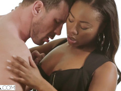Beauty black girl is pleasuring cunnilingus and hardcore interracial fuck