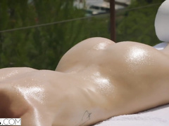 Burning hot rich blonde with tiny tits is pleasuring hot fuck with handsome masseur