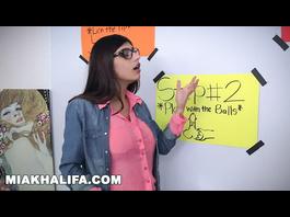 Tight big boobed Muslim girl Mia Khalifa is teaching how to deepthroat big dick