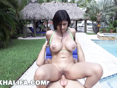 Arab young porn model Mia Khalifa is pleasuring hardcore fuck by the pool