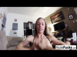 Charming hot blonde chick Nicole Aniston is doing handjob and being filmed