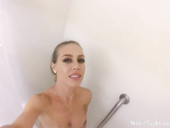 Buxom tight chick Nicole Aniston records herself on camera in the shower