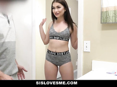 Charming sexy young brunette gets seduced and passionately fucked