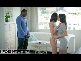Horny girlfriends Adria Rae and Ariana Marie are seducing black dude for interracial sex