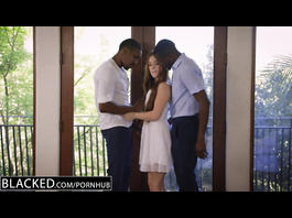 Beautiful young redhead Kimberly Brix got pleased with amazing interracial threesome