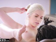 Young blonde with beautiful face enjoys interracial hardcore with strong guy