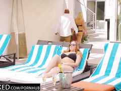 Sexy young blonde and her busty brown haired girlfriend are having interracial ffm threesome