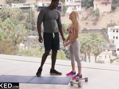 Appetizing hot blonde babe fucks her black fitness coach