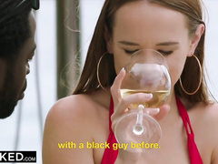 Young and sexy hot white girlfriends are having a drink and getting fucked by two black guys