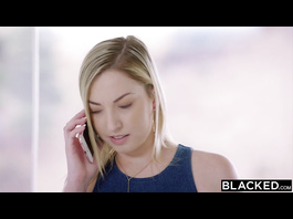 Bored black dude invites a beautiful blonde white chick and treats her with interracial rough fuck