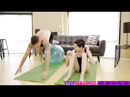Adorable brunette does fitness exercises with stepbrother before fucking him
