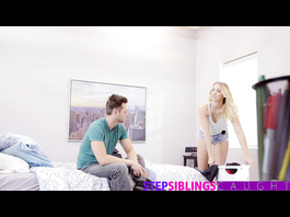 Blonde babe excites her stepbrother with tight blowjob and enjoys hardcore fuck