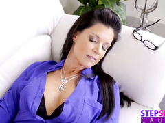 Appetizing hot brunette milf chick enjoys passionate threesome fuck with stepsons